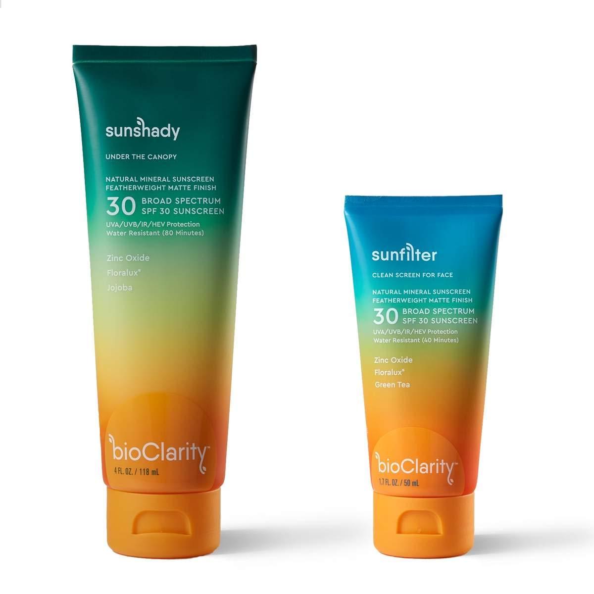 bioClarity Spasm price Defense Duo SPF Max 46% OFF 30 Sunscreen Face Loti Body Mineral