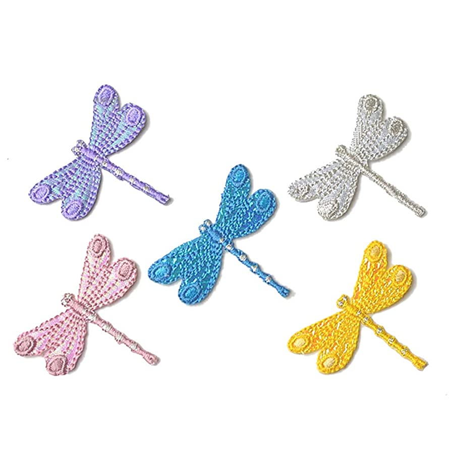 5 Pcs Delicate Embroidered Patches,Iron On Patches, Sew On Applique Patch,Dragonfly Embroidery Patches, Cute Patches for Men, Women, Boys, Girls, Kids