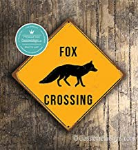 CELYCASY Fox Crossing Sign Fox Crossing Signs Foxes Warning Fox Crossing Fox Signs Fox Decor Fox Xing Yellow Sign Foxes Crossing Sign