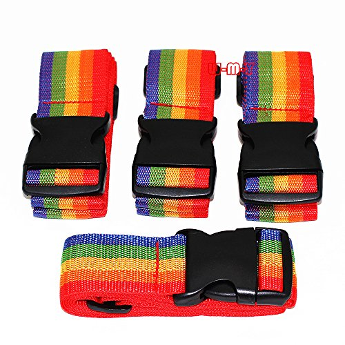 M-W 2' Wide 36.5'-73' Long Adjustable Travel Luggage Strap Packing Belt Suitcase Baggage Security Straps(PACK OF 4)