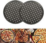 Old Tjikko Pizzablech,Pizzaset 2 Stück, Antihaft Pizza Backblech mit Löchern,Carbonstahl, Knusperblech,Rund,∅ 32 cm