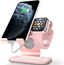 Apple Watch Stand, Apple Watch Charging Stand Station Dock, ZVEdeng Phone Watch Stand 2 in 1 Universal Stand Holder for iPhone 11 Pro Max 11 11 Pro Apple Watch Both 38mm-42mm (Rose Gold-Leather)