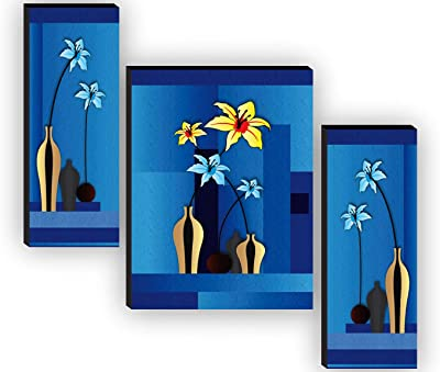 SAF Set of 3 Flower Pot UV textured Home Decorative Gift Item Painting 12 Inch X 18 Inch SAF-JMS65