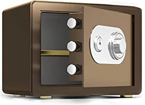 CXSMKP Home Personal Safe, Safe Box, Digital Security Safe Box for Money Jewelry Gun Cash Documents,Brown,45cm
