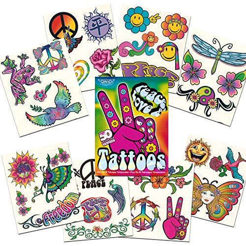 Hippie Temporary Tattoos Party Favor and Costume Set (50 Love and Peace Sign Temporary Tattoos)