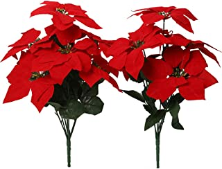 Nubry 2pcs Artificial Poinsettia Flowers Fake 7 Heads Red Christmas Decoration Bouquet Faux Flowers with Stem for Christma...