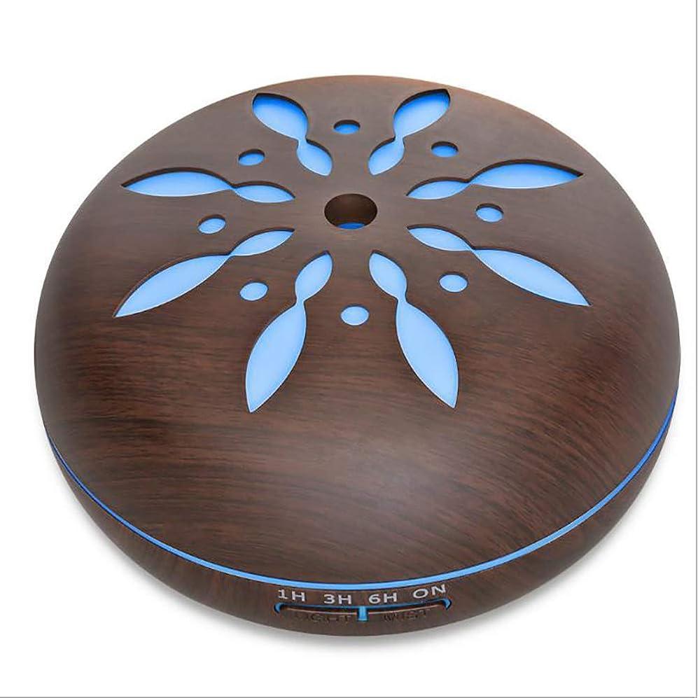 いじめっ子適合しました魔術師ミスト 超音波 香り ネブライザー、 電気の 香り 木製 ホーム 空気 加湿器、 550ml リモコン 木地 アロマテラピー エッセンシャルオイル 香り ディフューザー,Petals1dark