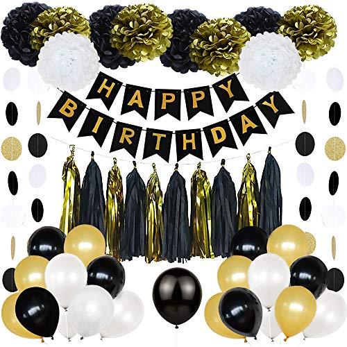 Decoraciones de Fiesta en Negro y Dorado, Banner de Feliz cumpleaños Globos, Flor Pompones, Guirnaldas borlas frías