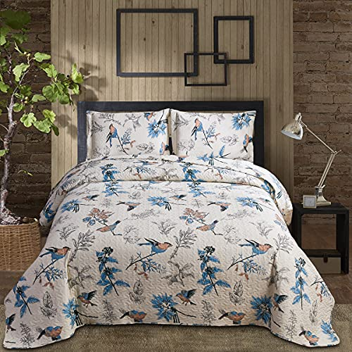 Floral Quilt Queen/Full Size Bird Floral Bedspread Set Country Quilt Reversible Print Bedspread Coverlet Lightweight Flower Quilts Leaves Floral Quilt Bedding Gray Leaf Floral Bedspread Coverlet Set
