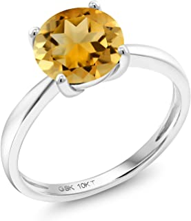 10K White Gold Yellow Citrine Engagement Solitaire Ring 1.50 Ct Round 8MM Gemstone Birthstone Available in size 5, 6, 7, 8,