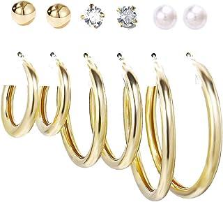 Jewels Galaxy Brass No Metal Pearl Earrings For Women (Pack of 6)
