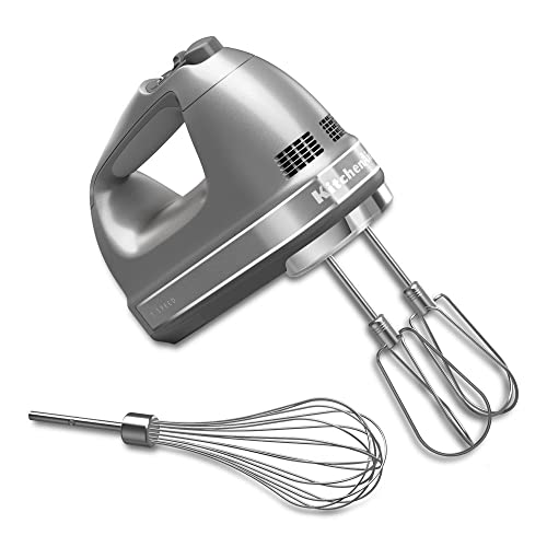 KitchenAid KHM7210CU 7-Speed Digital Hand Mixer with Turbo Beater II Accessories and Pro Whisk - Contour Silver