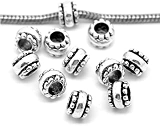SEXY SPARKLES 10 Pcs Silver Tone European Spacer Beads for Snake Chain Charm Bracelets