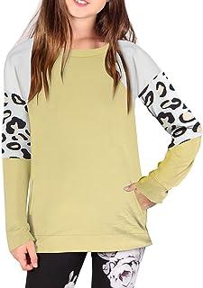 Meetammy Girls Long Sleeve Shirts Casual T Shirts Loose Tunic Tops Crewneck Color Block Tee Blouses Size 4-11