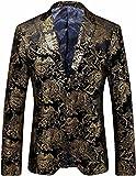 Men's Stylish Glitter Floral Print Suit Slim Fit Blazer Suit, Black Gold, 42 = Tag 58