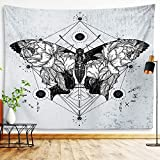 Butterfly Tapestry Insects And Moths Wall Hanging Black And White Gothic Biology Entomology Wall Decor Grunge Moth Tattoo Wiccan Dragonfly Beetle Spider Witchy Tarot Bohemian Goth Tapestry For Living Room Bedroom College Dorm Room (Butterfly, 59'x79')