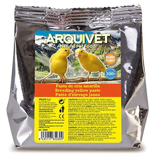 ARQUIVET - Pasta de cría amarilla y mantenimiento para pájaros 300 gr - Sabor neutro - Alimentación para aves - Comida para todo tipo de pájaros y especialmente de plumaje amarillo