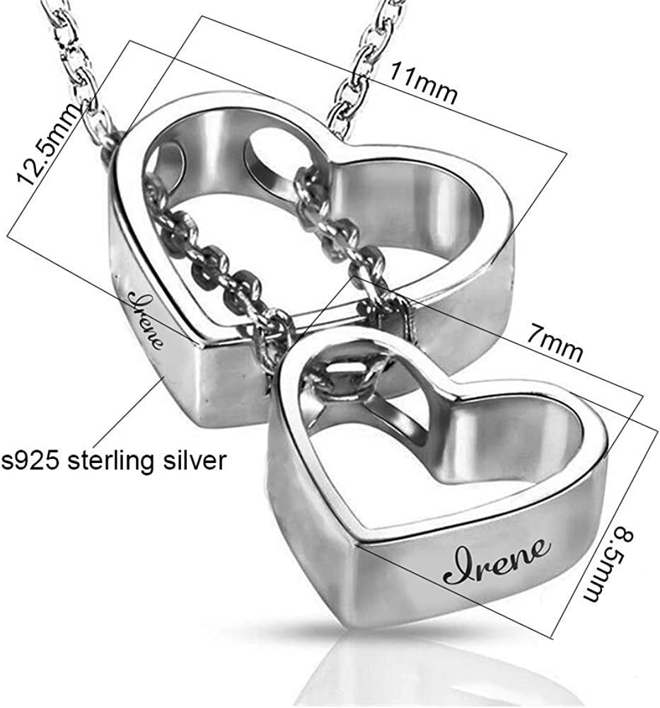IPCROMY 925 Sterling Silver Personalized Double Heart-Shaped Custom Necklace can Add Any Exclusive Name Text Couple Gift Gift Box Packed
