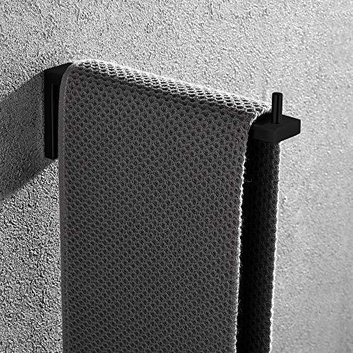 Celbon SUS 304 Edelstahl Handtuchring Schwarze Oberfläche Handtuchstange Badezimmer und Küche Handtuchhalter Wandmontage 21cm (Schwarz)