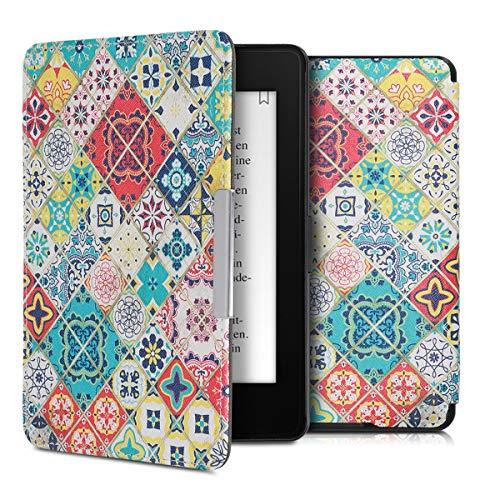 kwmobile Funda Compatible con Amazon Kindle Paperwhite - Carcasa para e-Reader de Piel sintética - Azul/Rojo/marrón Claro