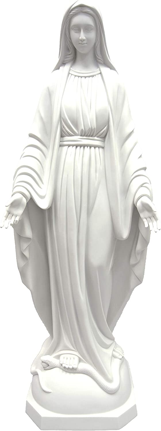 47 Inch Our Lady of Grace Virgin Mary Madonna Mother Catholic Religious Statue Sculpture Indoor Outdoor Garden Grotto Vittoria Collection Made in Italy