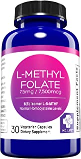 MD. Life L-Methylfolate 7.5 mg Active Folate 5 Mthfr Support Supplement Professional Strength Methyl Folate - Essential Am...