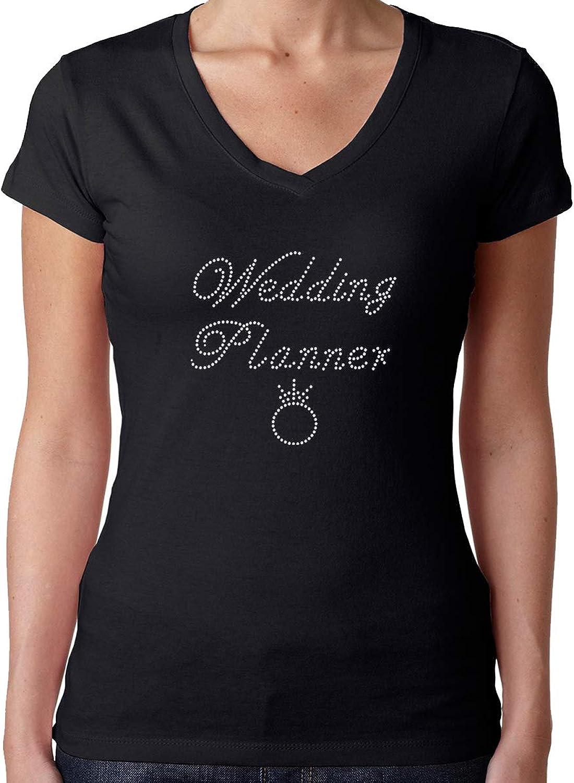 Womens TShirt Rhinestone Bling Black Fitted Tee Wedding Planner Ring