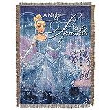 Disney's Cinderella, 'A Night to Sparkle' Metallic Woven Tapestry Throw Blanket, 48' x 60', Multi Color