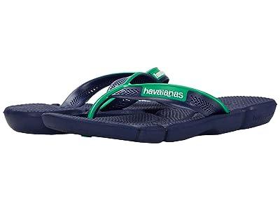 Havaianas Power Flip Flops (Navy/Green Leaf) Men
