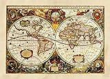 1art1 Mapamundis - Historical Map Póster Fotomural (160 x 115cm)