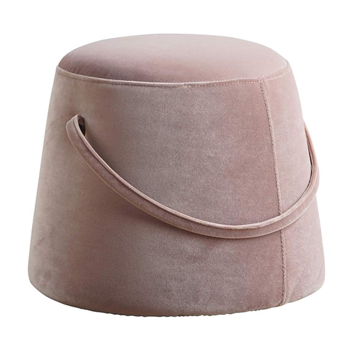 リマ避難セーターソファスツール 家庭 円形 ロースツール ノルディック スツール クリエイティブ ベルベット 靴のスツールを交換する GAOFENG (色 : ピンク, サイズ さいず : 36*33cm)