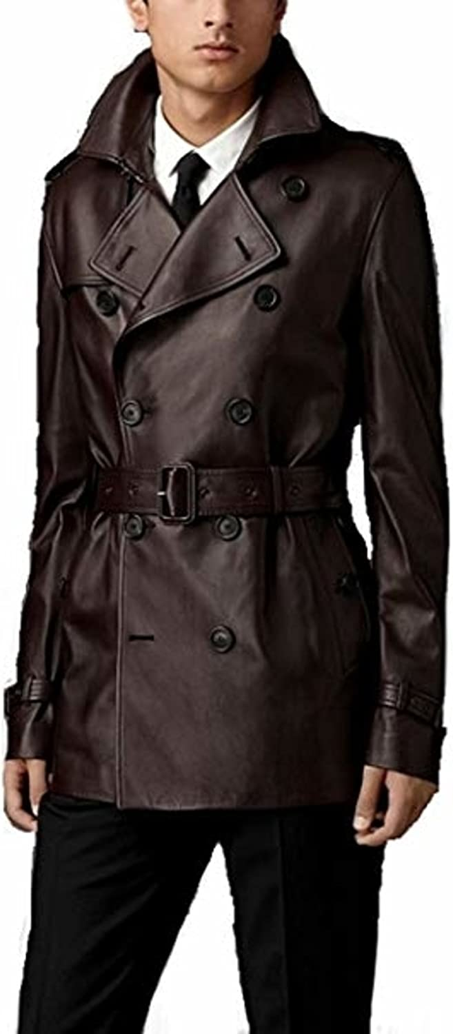 Leather Ranking TOP15 Hubb Mens Brown Trench Coat Long in an Ultra-Cheap Deals Two Style