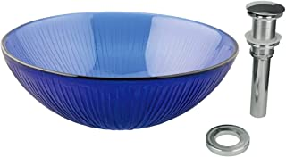 Tempered Glass Sink With Drain Frosted Blue Icicle Glass Bowl Sink Textured