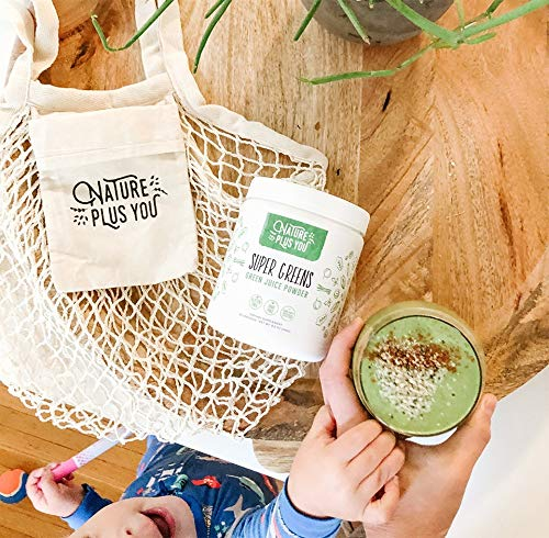 Super Greens Powder Organic Blend: Non-GMO Supplement, Includes Spirulina, Alfalfa, Spinach, Probiotics, Fiber and Digestive Enzymes, No Artificial Sweeteners, 30 Servings by Nature Plus You