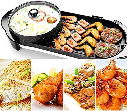 ZFFSC Grill Tragbarer elektrischer Grill, elektrische Backpfanne Raclette Grill den elektrischen Grill Hot Pot Maifan Stein Multifunktions Grill