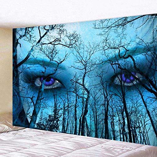 Fostudork Das Böse Charm Augen Behind Blue Sky Woods Sonnenschutz PolJater Bohemian Schlafenauflage-Camping-Zelt Reise Matratze Teppich, Blau, W230cmxH180cm