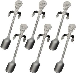 18/8 Stainless Steel Espresso Spoons Skull Hanging Coffee Spoon Set Stirring Spoon Teaspoons for Dessert Mixing Drinks Sugar Appetizer Sorbet Cake (black)