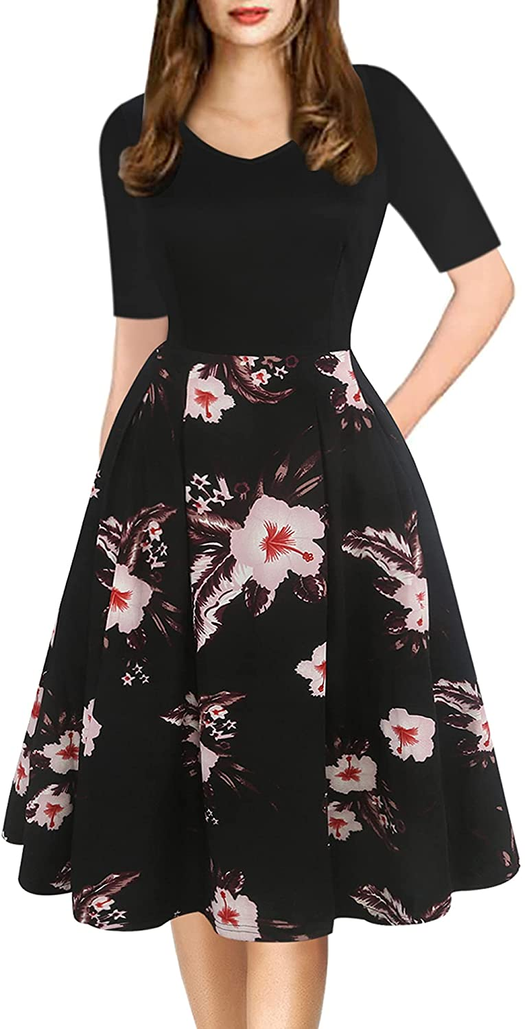 oxiuly Women's Vintage Elegant Floral V-Neck Casual Cocktail Party Swing Dresses Knee-Length Work Dress with Pockets OX295
