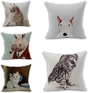 Ducan Lincoln Pillow Case Juego De Fundas De Almohada De Lino Juego De Fundas De Almohada Funda De Almohada Animal B,(Juego De 5)