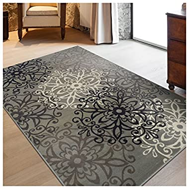 Superior Elegant Leigh Collection Area Rug, 8mm Pile Height with Jute Backing, Chic Contemporary Floral Medallion Pattern, Anti-Static, Water-Repellent Rugs - Blue, 2'7  x 8' Runner Rug