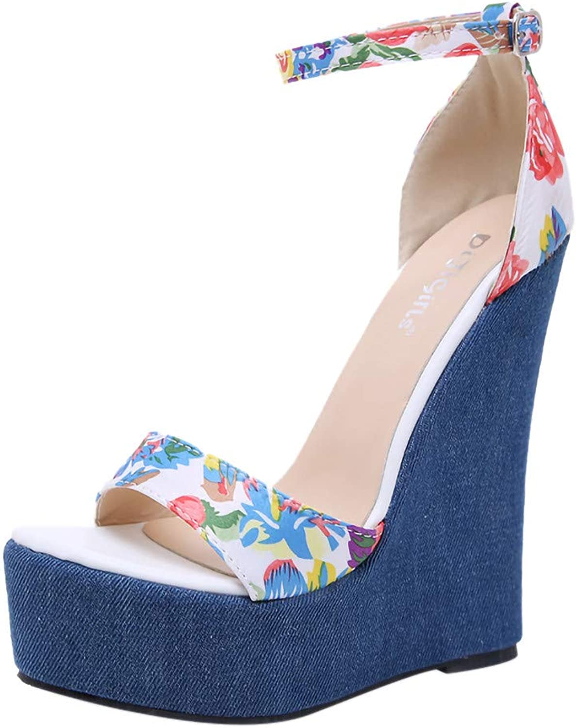 Women's Flower Printed Sandals High Heels Wedges Sandals Single shoes Belt Buckle Ladies' Sandals