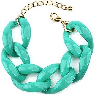 Resin Link Bracelet Trendy Bright Colorful Adjustable Link Chain Bangle Bracelet Summer Beach Vacation Friendship y2k Mini...