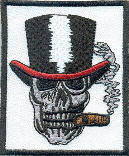 Gentleman Totenkopf Hut Zigarre Skullhead Rockabilly Biker Aufnäher Patch Abzeichen