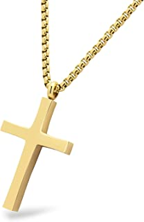 Stainless Steel Cross Adjustable Rolo Chain Pendant Necklace