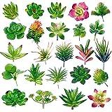 Rosi home 人工観葉植物 人工多肉植物 フェイクグリーン 24点セット 造花 植木鉢なし 寄せ植え 可愛い 偽盆栽 インテリア 装飾用 水やり不要