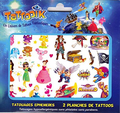 Tatouage Fille Garçon ephemere temporaire pirates princesses animaux super héros TATTOOIK MIXTE hypoallergénique Fabriqué en FRANCE Fille et Garçon. 2 planches 40 tattoos environ Enfant