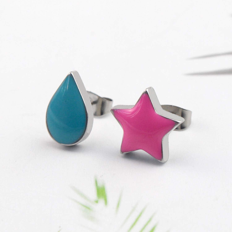 Anime Earrings -Stainless Steel Star and Teardrop Anime Stud Earrings Women Men Earring Jewelry Gift Accessories