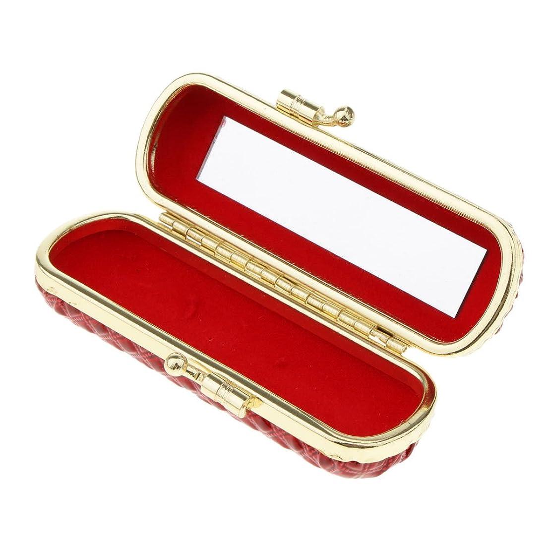 Perfk 口紅ケース リップスティックケース ミラー付き 香水 オイル 収納ケース 多色選択 - 赤