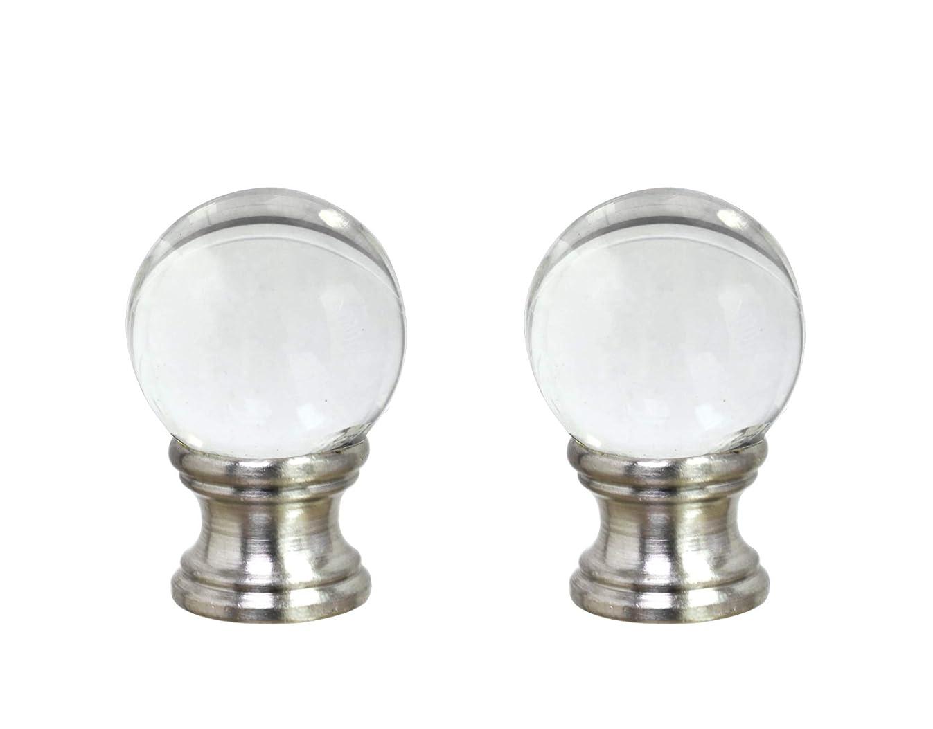 Aspen Creative 24014-12, 2 Pack Clear Glass Ball Lamp Nickel Finish, 1 1/2