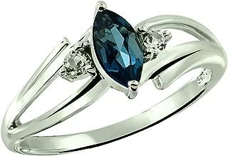 Sterling Silver 925 Ring Genuine GEMS (London Blue Topaz, Garnet) 0.75 Ct Rhodium-Plated Finish